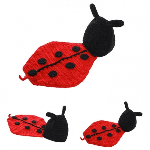 Newborn Boy Girl Baby Cute Crochet Knit  Ladybird Costume Photography Photo Prop Hat Outfit