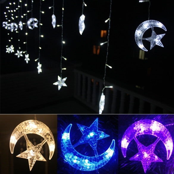 4M LED Moon Star Christmas Party Decor Bar Indoor String Fairy Curtain Light