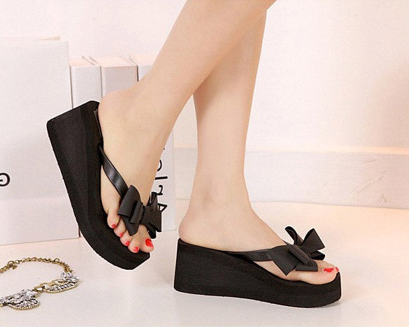 Ladies Summer Platform Flip Flops Thong Wedge Beach Sandals Knotbow Shoes - MeetYoursFashion - 3