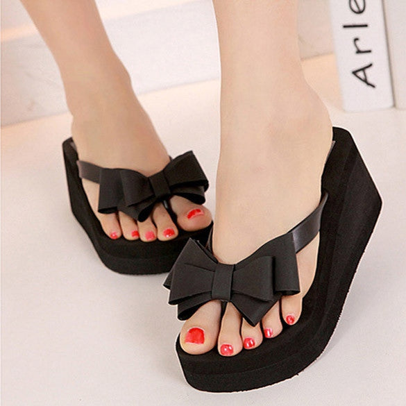 Ladies Summer Platform Flip Flops Thong Wedge Beach Sandals Knotbow Shoes - MeetYoursFashion - 1