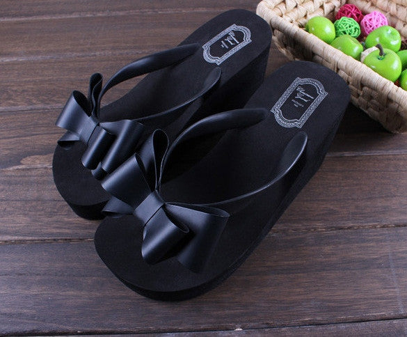 Ladies Summer Platform Flip Flops Thong Wedge Beach Sandals Knotbow Shoes - MeetYoursFashion - 4