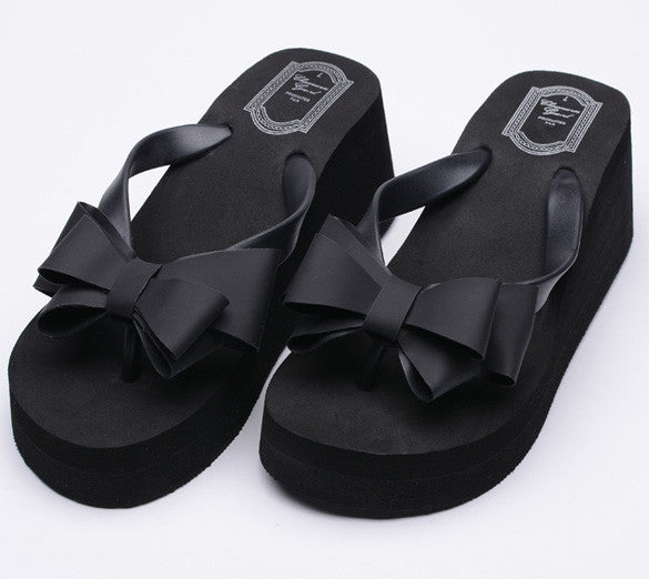 Ladies Summer Platform Flip Flops Thong Wedge Beach Sandals Knotbow Shoes - MeetYoursFashion - 5