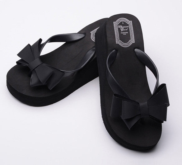 Ladies Summer Platform Flip Flops Thong Wedge Beach Sandals Knotbow Shoes - MeetYoursFashion - 6