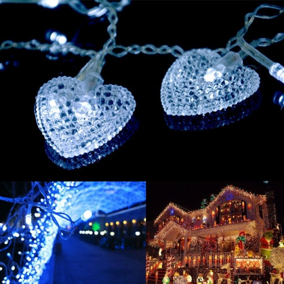 3.5M White 16 Hearts 100 LED String Fairy Holiday Lights For Party Xmas Wedding