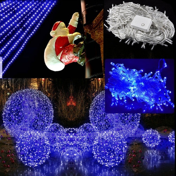 30M 300 LED Blue Lights Decorative Christmas Party Festival Twinkle String Lamp Bulb With Tail Plug 110V US