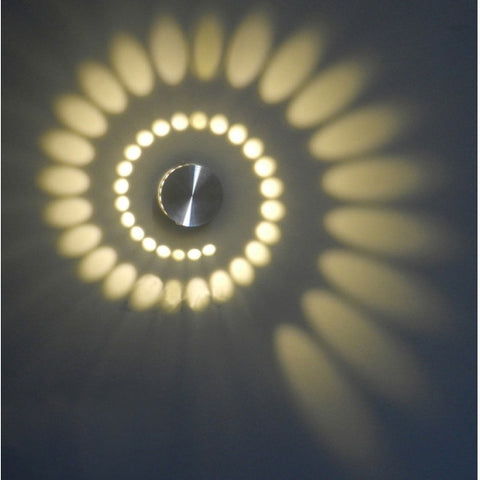 Spiral 3W LED Wall Hall Porch Walkway Lobby Light Fixture Bulb Lamp 85-265V