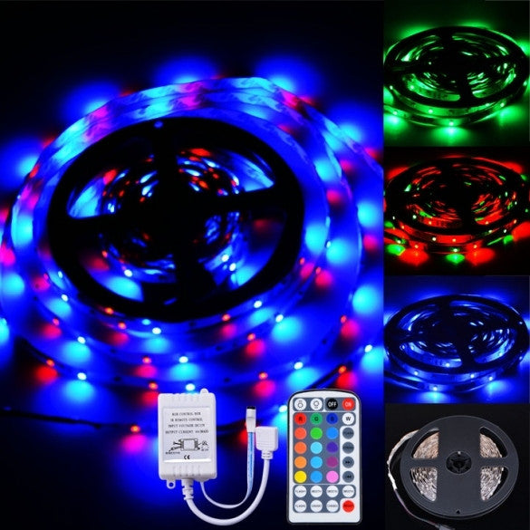 300LEDs SMD 3528 Flexible RGB LED Strip Light IR Remote DC 12V