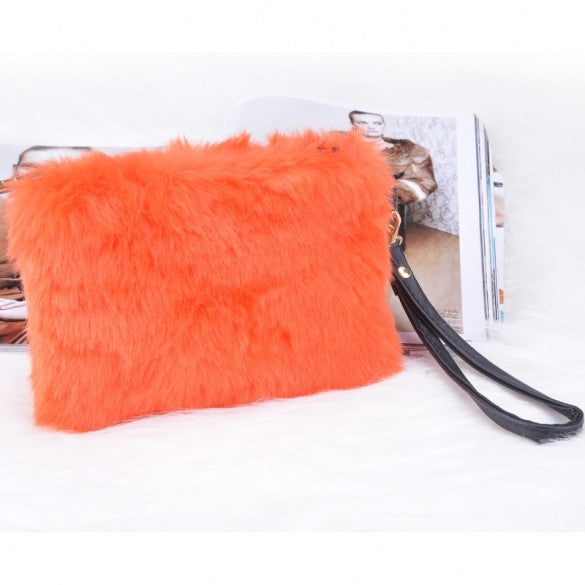 Fashion Women's Elegant Clutch Bag Faux Fur Handbag Wallet Candy Color Clutch