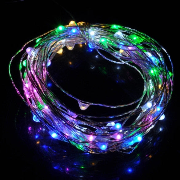 10M 33Ft 100 Leds Starry Copper Wire Warm White LED Light+AC/DC Power Supply Xmas