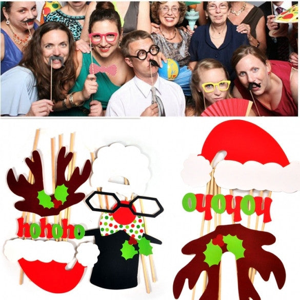 New Fashion 17Pcs DIY Props Wedding Moustache Lips Christmas Party Mask