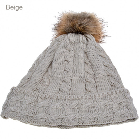 New Lady Women's Fashion Elegant Warm Casual Knit Faux Fur Cap Hat