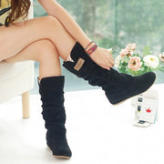 Women Fashion Autumn Winter Boots Lace Cuff Increased Internal Shoes