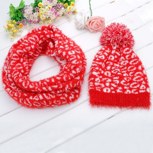 Women's Pattern Knit Winter Warm Ski Skating Cap Hat + Scarf Set - Oh Yours Fashion - 1