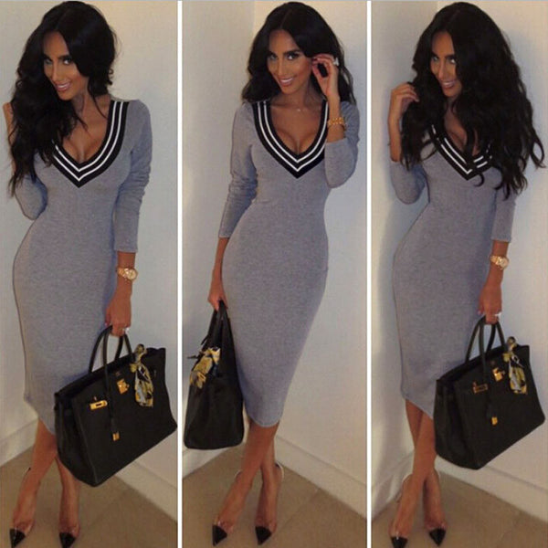 Casual Long Sleeve V neck Stretch Bodycon Dress - MeetYoursFashion - 1