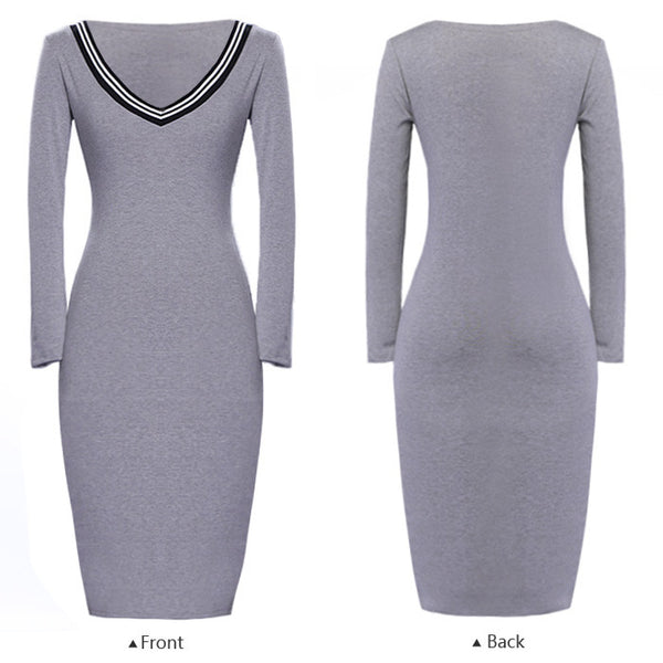 Casual Long Sleeve V neck Stretch Bodycon Dress - MeetYoursFashion - 6