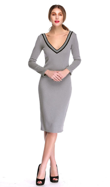 Casual Long Sleeve V neck Stretch Bodycon Dress - MeetYoursFashion - 4