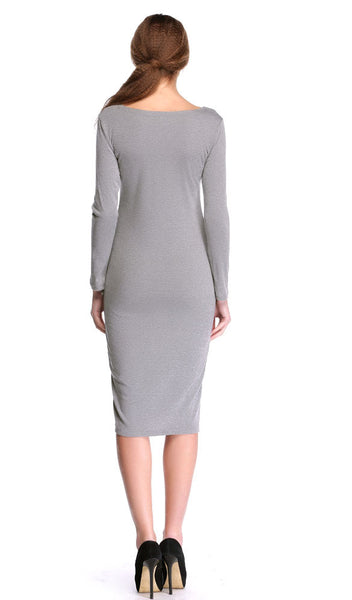 Casual Long Sleeve V neck Stretch Bodycon Dress - MeetYoursFashion - 5
