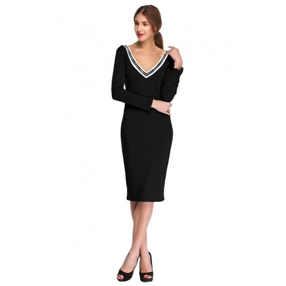 Casual Long Sleeve V neck Stretch Bodycon Dress - MeetYoursFashion - 3