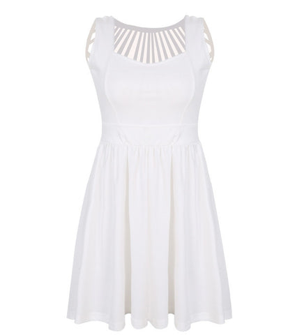 Square Neck Sleeveless Straps Hollow Out Dress - MeetYoursFashion - 3