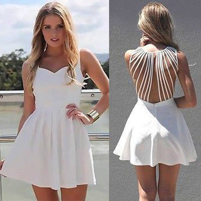 Square Neck Sleeveless Straps Hollow Out Dress - MeetYoursFashion - 1