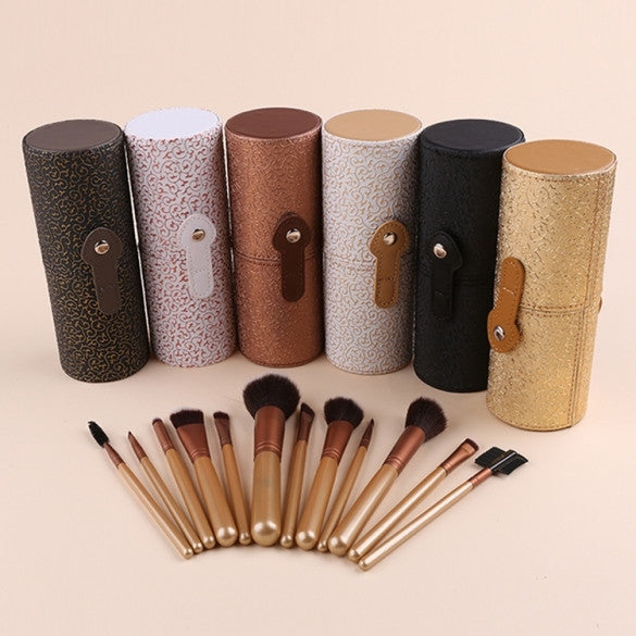 12 PCS Practical Makeup Brush Set Cosmetic Brushes Tool Kit + Cup Holder Case