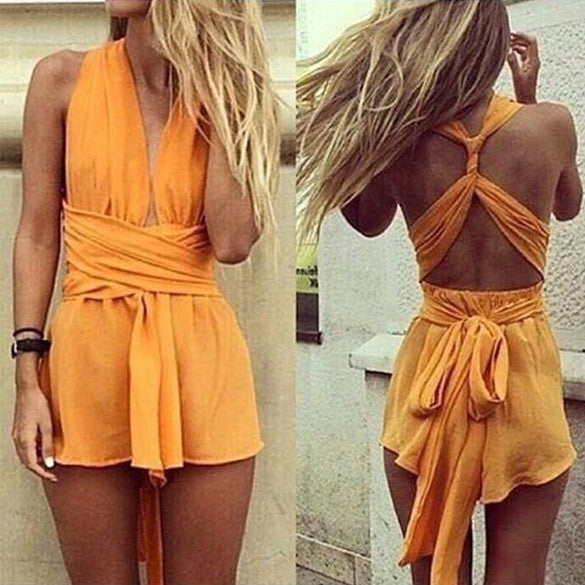 Casual Back Cross Strap V Neck Backless Chiffon Jumpsuit - Oh Yours Fashion - 4