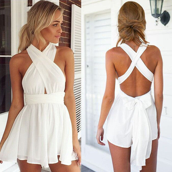 Casual Back Cross Strap V Neck Backless Chiffon Jumpsuit - Oh Yours Fashion - 3