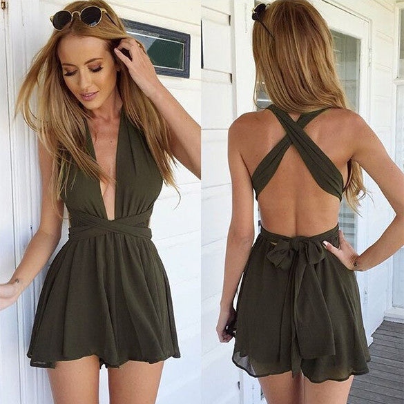 Casual Back Cross Strap V Neck Backless Chiffon Jumpsuit - Oh Yours Fashion - 5