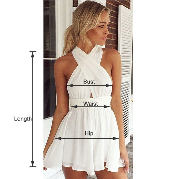 Casual Back Cross Strap V Neck Backless Chiffon Jumpsuit - Oh Yours Fashion - 7