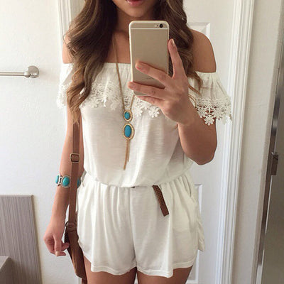 Off Shoulder Lace Stitching Elastic Waist Jumpsuit - MeetYoursFashion - 1