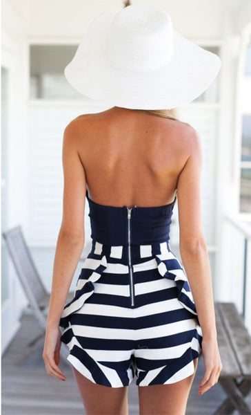 Stripe Strapless Off Shoulder Short Jumpsuit - MeetYoursFashion - 3