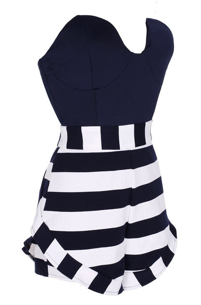 Stripe Strapless Off Shoulder Short Jumpsuit - MeetYoursFashion - 6