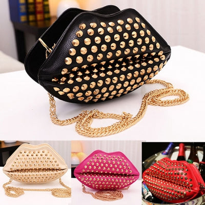 New Fashion Lady Women's Artificial Leather Lip Shape Chain Rivets Shoulder Bag Cross Bags