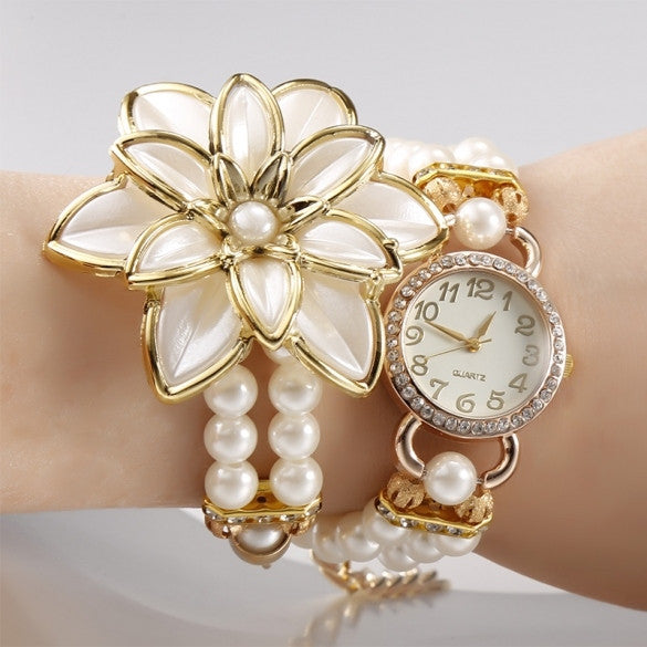 Hot Fashion Beads Flower Chain Wrap Necklace Bracelet Quartz Wristwatches Women Dress Watches