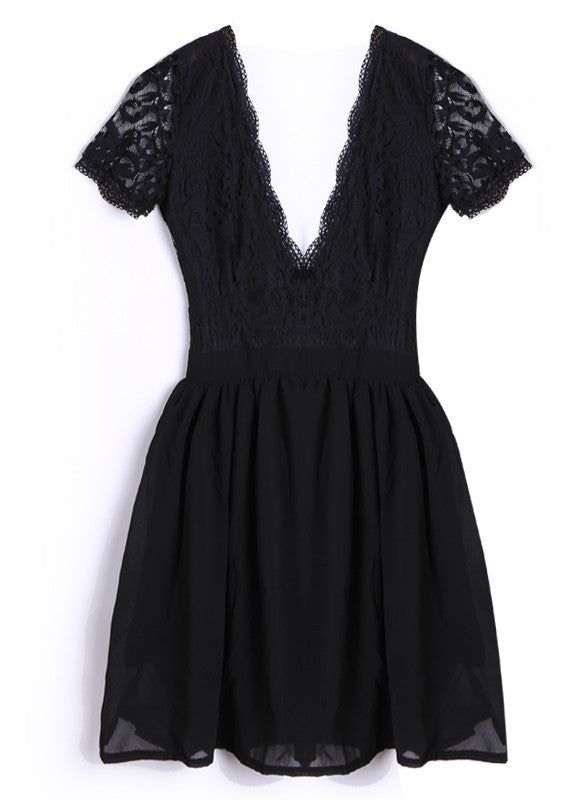 Deep V-neck V-back Backless Lace Little Black Dress - Meet Yours Fashion - 6