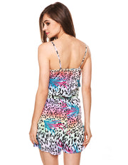 Spaghetti Strap V-Neck Backless Print Short Jumpsuit - MeetYoursFashion - 3