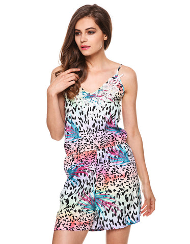 Spaghetti Strap V-Neck Backless Print Short Jumpsuit - MeetYoursFashion - 5