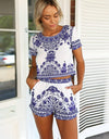 Floral Vintage Crop Top Shorts 2PCS Dress Set - Meet Yours Fashion - 2