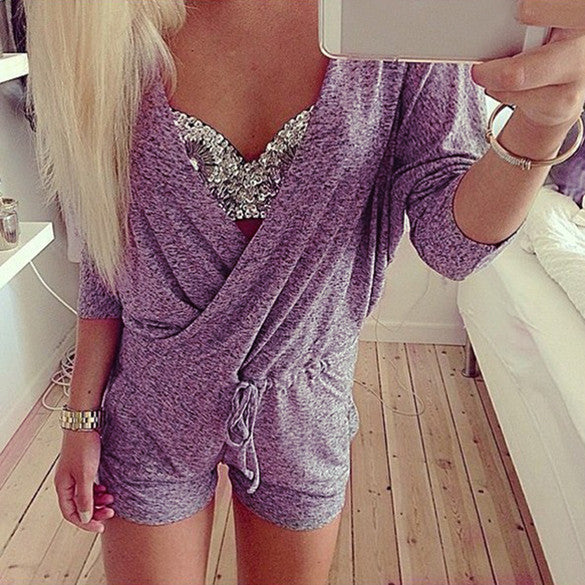 Deep V-Neck Batwing Sleeve Knit Club Short Jumpsuit - MeetYoursFashion - 1