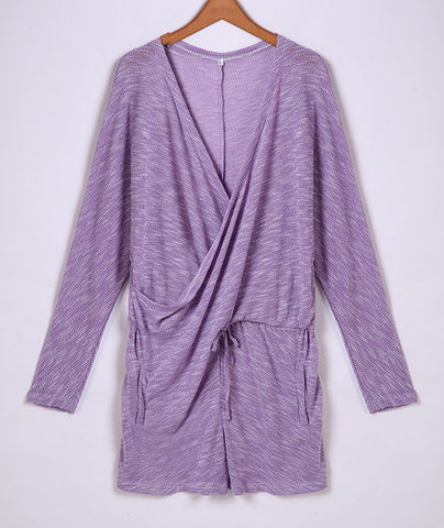 Deep V-Neck Batwing Sleeve Knit Club Short Jumpsuit - MeetYoursFashion - 3