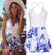 Casual V-Neck Sleeveless Straps Short Print Jumpsuit - MeetYoursFashion - 3