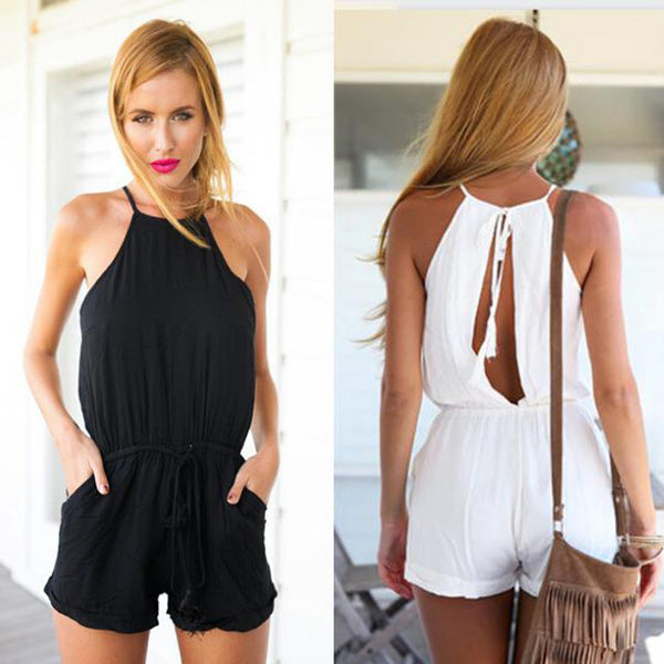 Drawstring Waist Jumpsuit Solid Classic Crimping Jumpsuit - MeetYoursFashion - 4
