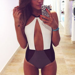 Strap Hollow Splicing Color Swimsuit One Piece Swimwear - MeetYoursFashion - 1