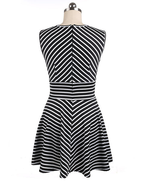 High Waist Stripe Patchwork A-Line Short Tank Dress - MeetYoursFashion - 3