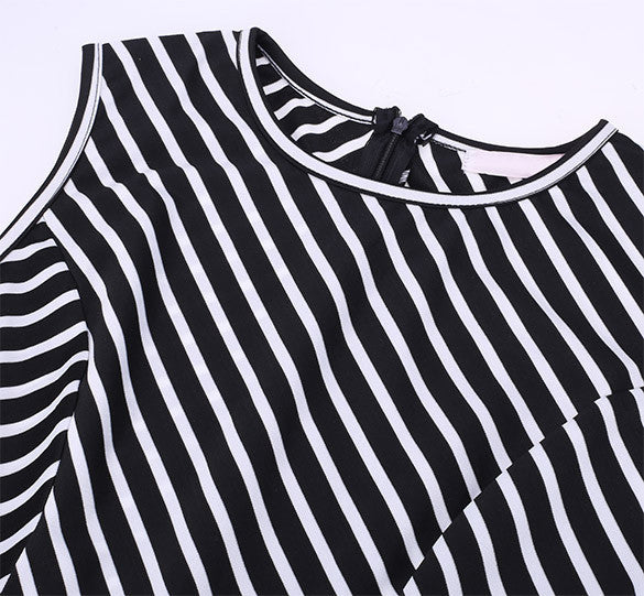 High Waist Stripe Patchwork A-Line Short Tank Dress - MeetYoursFashion - 4