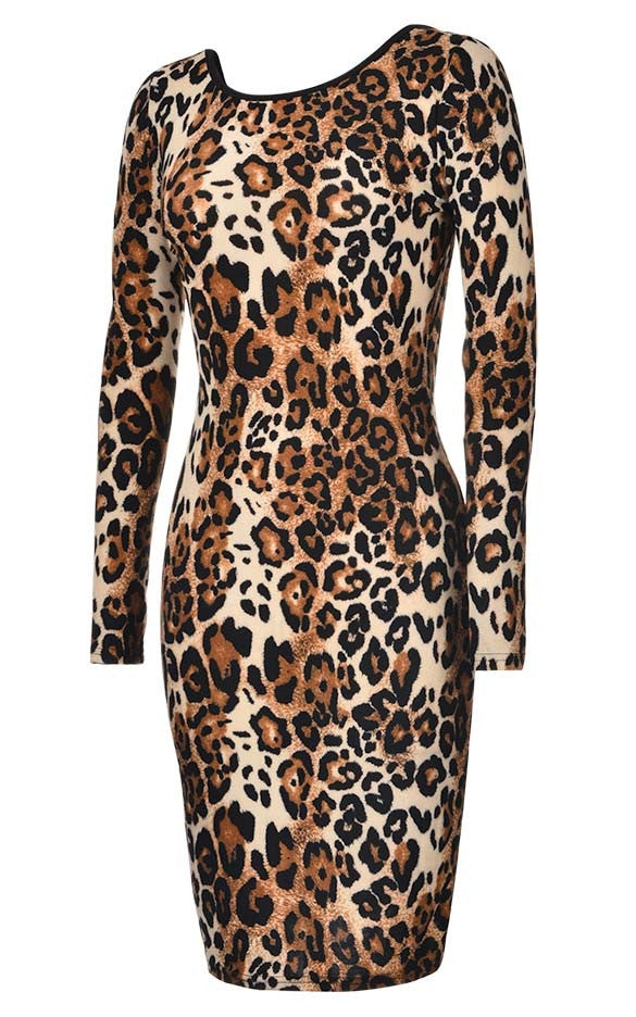 Slim Leopard Long Sleeve Print Backless Knee-length Dress - MeetYoursFashion - 4