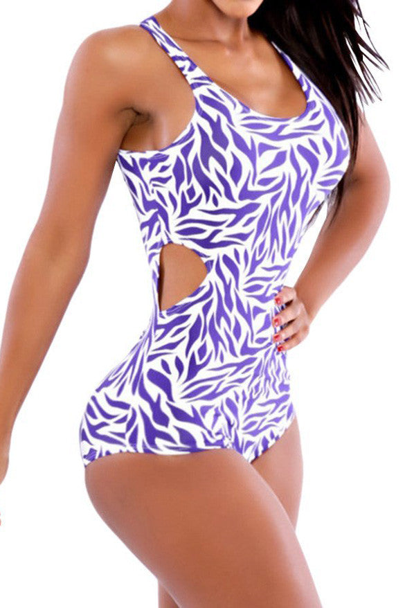 Floral Print Scoop Hollow Out One Piece Swimwear - Meet Yours Fashion - 2