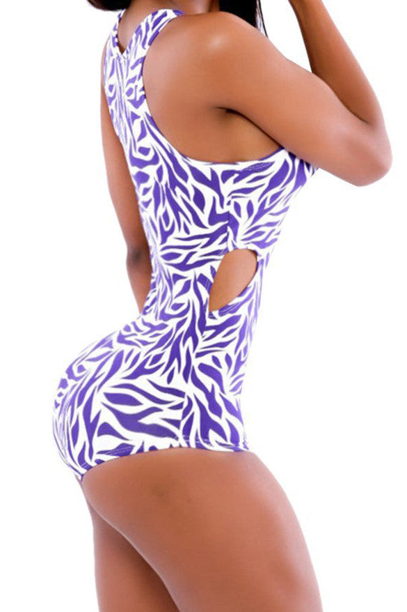 Floral Print Scoop Hollow Out One Piece Swimwear - Meet Yours Fashion - 3