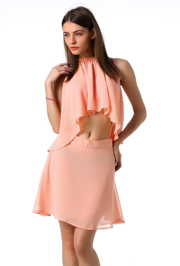 MINI HALTER CHIFFON CROP TOP SHORT SKIRT TWO PIECE DRESS SUIT