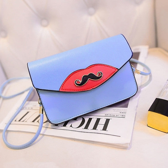 New Fashion Women Synthetic Leather Mustache Decorated Shoulder Bag Clutch Bag
